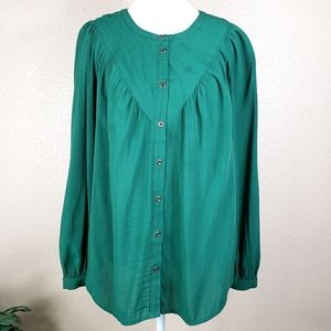 Anthropologie Maeve forest green loose blouse